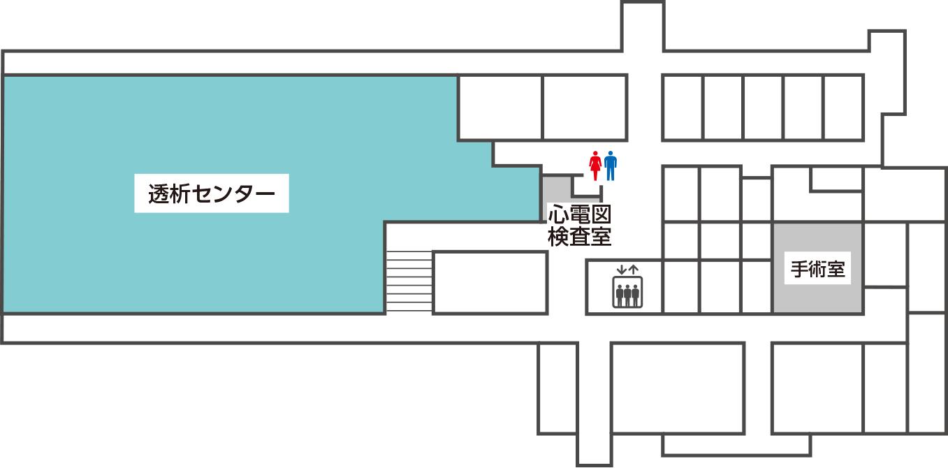 透析センターへお越しの方は本館2階へ